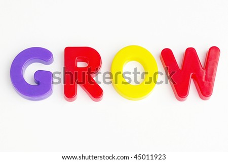 Colored text with the word Grow. Great colors