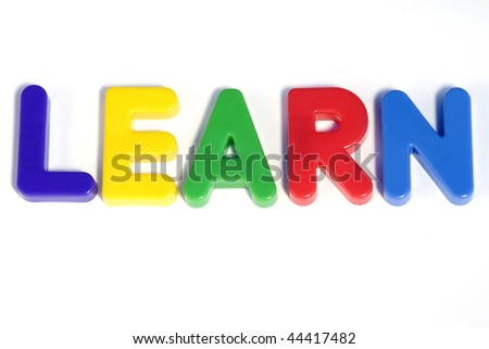 Colored text with the word Learn. Great colors
