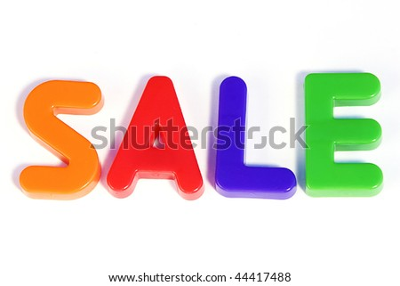 Colored text with the word sale. Great colors