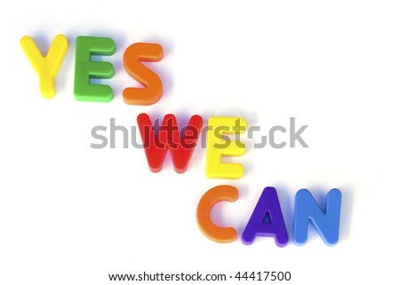 Colored text with the words yes we can