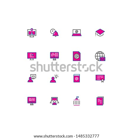 Colored thin line icons back to school edition. Education colored thin line icons