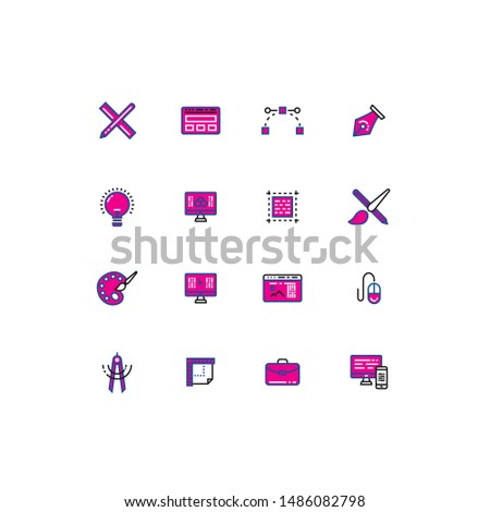 Colored thin line icons design edition. Designers tools colored thin line icons