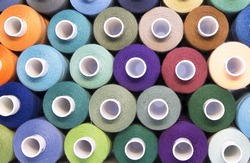 Colored thread for sewing. Threads in spools