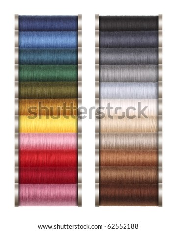 Colored threads for sewing machine, hand sewing, or repair of dresses.