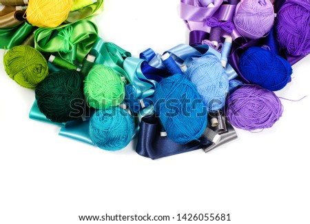 Colorful / colourfully of knitting cotton wool / yarn Images and