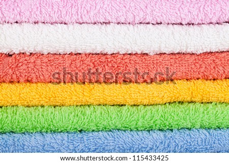 Colored towels texture background