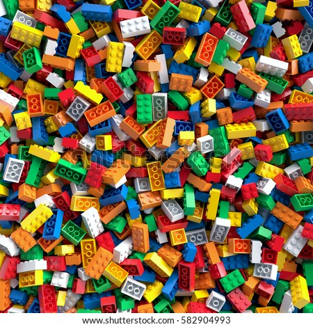 Colored toy bricks background. 3D Rendering. Сток-фото ©