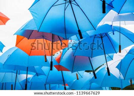 Colored umbrellas hang in the air as a protective roof against rain and sunshine. They form a colorful tile pattern. #1139667629