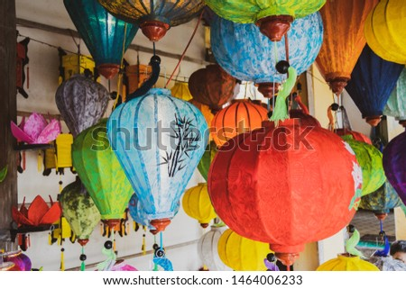 Colored vietnamese silk lanterns. Asian silk lanterns.