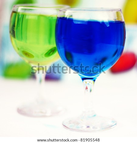 colored water in a glass