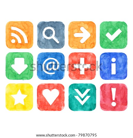 Colored watercolor handmade web 2.0 buttons set with popular internet sign on white background