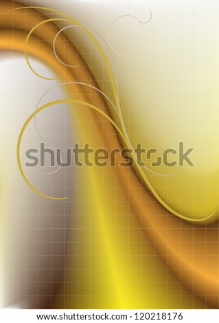 Colored wave and colored stripes on a yellowish background.