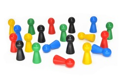 colored wooden pawn game characters