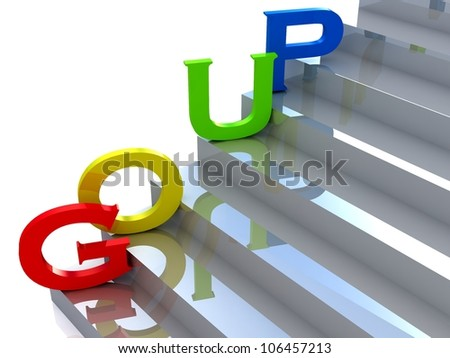 colored words on the stairs