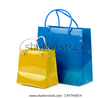 Coloreds shopping bags on a white background.