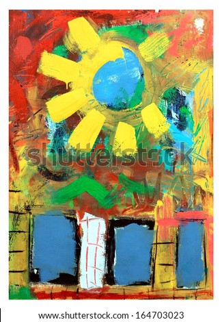 Colorful Abstract and Whimsical Original Sun Painting