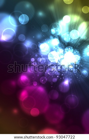 Colorful abstract background of glowing light bubbles like bokeh.