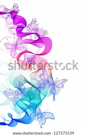Colorful abstract background with butterfly and wave, illustration for design