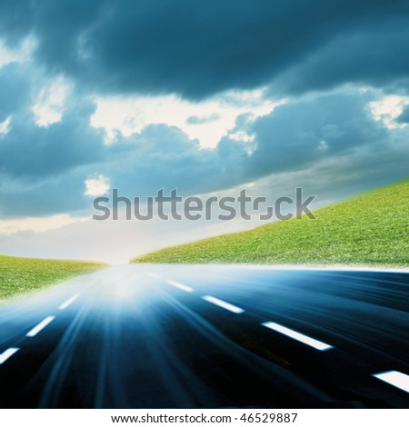 Colorful Abstract blurred speed motion on urban highway, moving toward the sun light. Computer generated illustration.