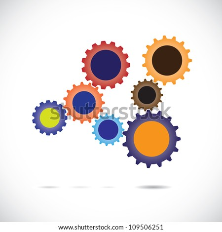 Colorful abstract cogwheels in controlled rotating motion implying balanced & synchronous system. Each cog wheel complements the cogwheels it is associated with & works as a team for overall balance.
