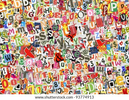 Colorful abstract collage background, made of digitally arranged newspapers and magazines letters handmade cutouts
