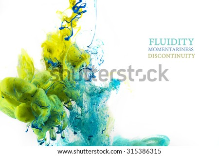 Colorful abstract composition with Liquids. Interesting shapes, patterns, rich textures, color mixing, fluidity, flowability. Space for text. Background texture. White background.