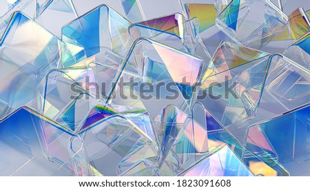 Colorful abstract geometric 3d shapes, holographic gradient futuristic background, translucent chromatic backdrop, dispersion and thin film reflection effect 3d rendering