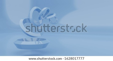 Colorful abstract geometric glossy figur strucutre, blue colored torus rings 3d illustration render