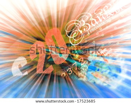 Colorful abstract of English bank note and abstract stripe pattern
