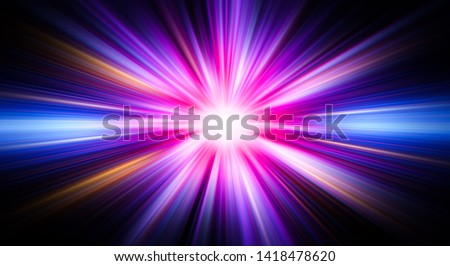 Colorful abstract radiant flash. Explosion hyper acceleration race  for speed in futuristic outer space. Star on dark background. Magic explosion star with particles. Light effect. Hyper jump
