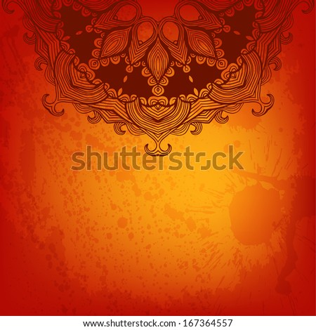 Colorful abstract raster background with a place for Your text. Round floral ornament. #167364557