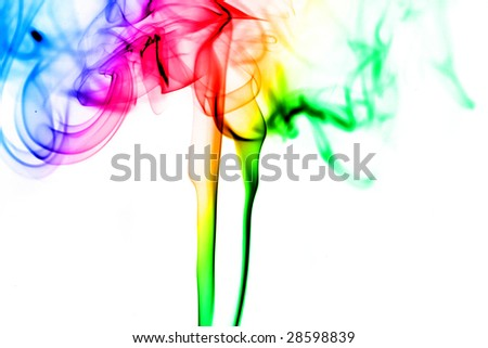 Colorful abstract smoke isolated on white,pleasant colors.