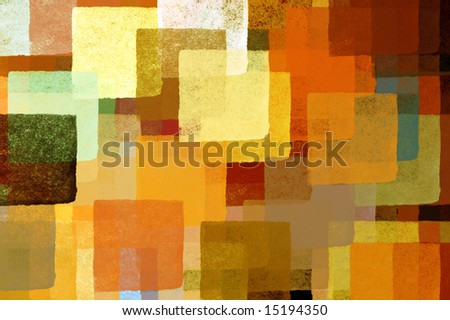 Colorful abstract squares illustration. Brush paint background pattern.