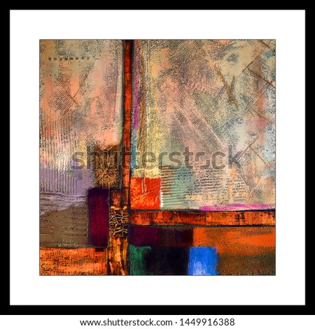 Colorful Abstract texture artwork decorative square pattern background canvas oil painting. Multicolor dynamic bright textured artistic modern art. futuristic pattern wall tile design wallpaper