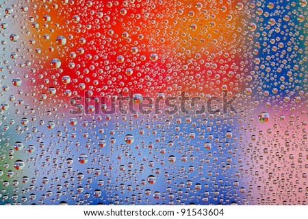 Colorful Abstract Wallpaper, Water Drops Over Multicolor