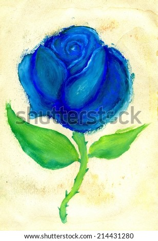 Colorful abstractive rose painted on paper background.
