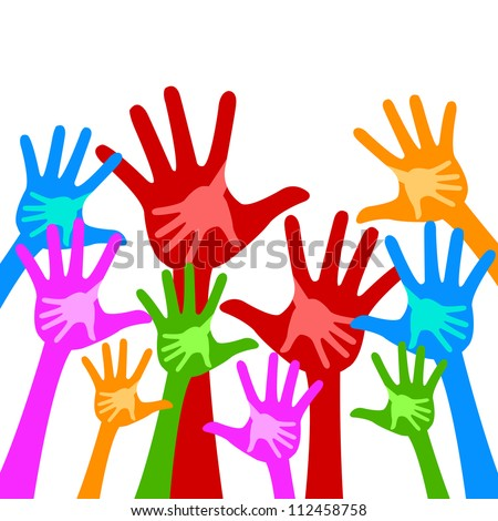 Colorful Adult Raised Hands With Children Hand Inside Isolate on White Background For Volunteer and Voting Concept