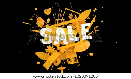 colorful advertising card or web-banner with word Sale as a part of trendy composition, high resolution 3D render