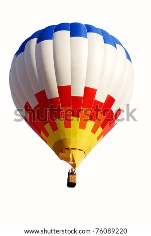 Colorful air balloon flying at the end of day