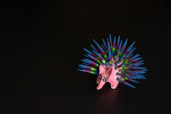 Colorful alebrije, purcupin, traditional mexican sculpture