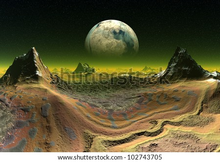 Colorful Alien Planet with a Moon