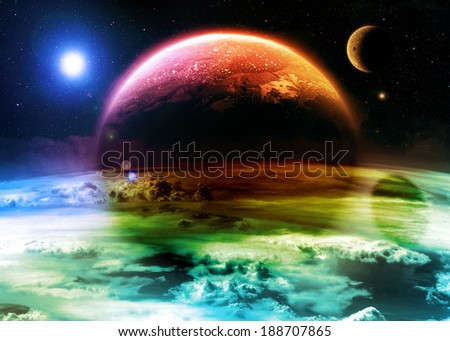 Colorful Alien World - Elements of this image furnished by NASA