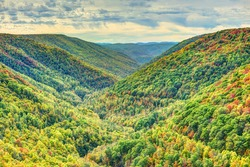 Colorful Allegheny mountains in autumn with foliage at Lindy Point overlook in West Virginia, USA