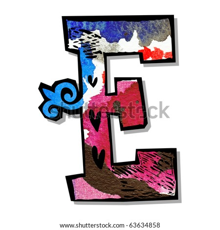 colorful alphabet, hand drawn letter E isolated on white background