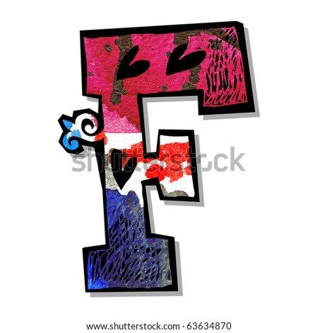 colorful alphabet, hand drawn letter F isolated on white background