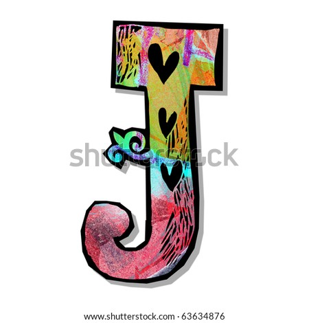 colorful alphabet, hand drawn letter J isolated on white background
