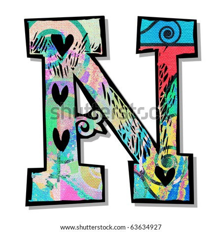 colorful alphabet, hand drawn letter N isolated on white background