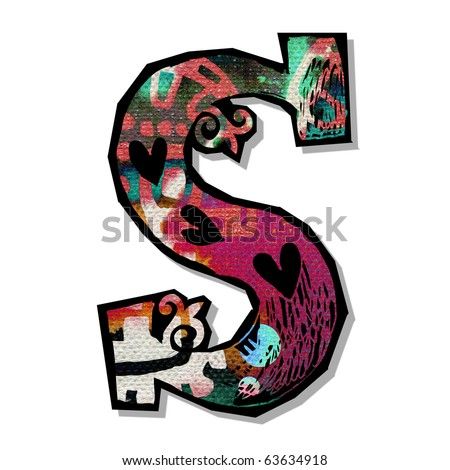 colorful alphabet, hand drawn letter S isolated on white background