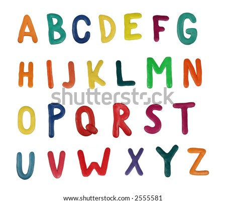 Colorful alphabet made from plasticine (isolated on white). Use it to make your own message