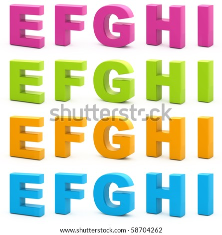 Colorful alphabet. Set of 3d letters isolated on white. Part 2 of 6.